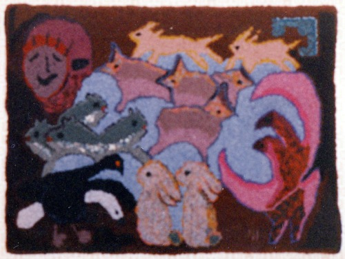 'Animal Tangle with Pink' hooked by Emma Webber
