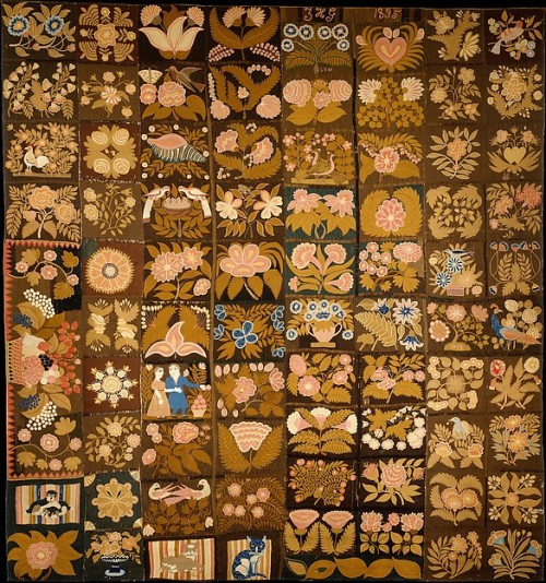 Caswell Carpet embroidered by Zeruah H Guernsey Caswell, 1832-1835
