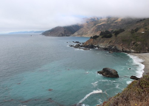 Distant view of a 2 arch bridge in Big Sur.