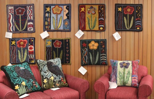8 'Victory Flower' rugs and 2 William Morris Crow pillows.