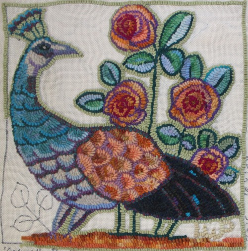 Caswell Peahen in progress by Laura Pierce