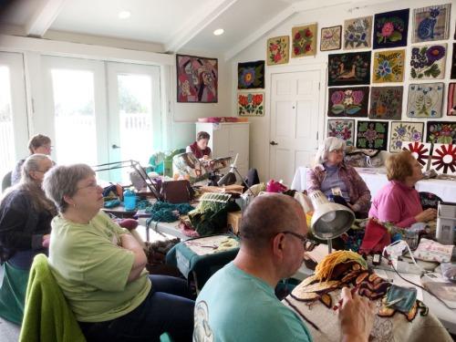 Tanya's class listens to Tanya's art talk...